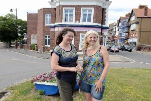 Felicity Jay, left, and Claire Jones, outside the Tamarisk Centre building