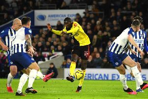 AbdoulayeDoucoure opens the scoring for Watford at the Amex Stadium