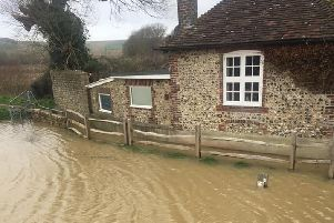 The flooding in Upper Beeding. Photo by Sue Plautz