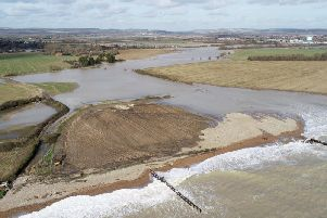 Drone image of Climping flooding
