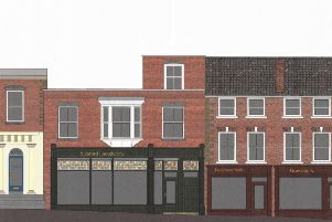 A sketch of how the shops will look when finished. Picture: Guy Forman Architect