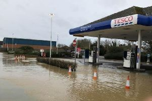 Flooding in the Melton from Storm Dennis this weekend - the petrol station at Tesco in the town EMN-200216-170126001