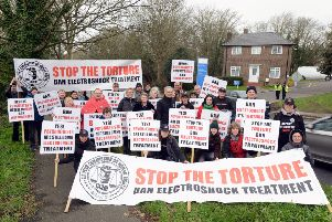 The protest outside Meadowfield Hospital in Worthing on Saturday