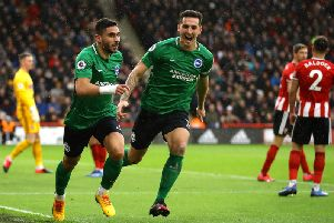 Neal Maupay and Lewis Dunk celebrate at Bramall Lane last Saturday