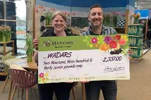 Sophia Wilks, fundraising and volunteer co-ordinator at Wadars Animal Rescue, with Mark Lephard, assistant general manager of Haskins Roundstone Garden Centre