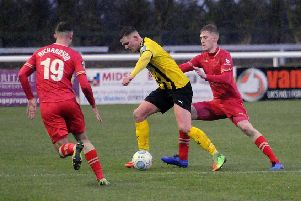 Colby Bishop in action in the narrow FA Trophy defeat to Hartlepool.