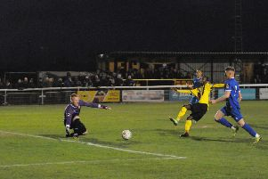 Leamington substitute Ahmed Obeng is inches away from being the match-winner. Pictures: Morris Troughton