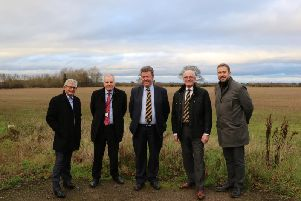 Anthony Riley from  Waterloo Housing, Chris Elliott from Warwick District Council, Russell Davis director at Leamington FC, Jim Scott Leamington FCs Chairman, and Steve Smith from Warwickshire County Council. Photo supplied by Waterloo Housing.