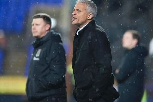 Keith Curle watched his Cobblers team claim a crucial 2-1 win at Tranmere on Tuesday night (Picture: Kirsty Edmonds)