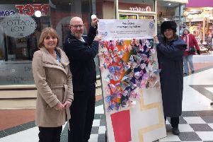 Pictured (from left) Jackie Lane, Steve Andrews, centre manager, Hildreds Shopping Centre, and Collette Parker, from Anglian Water.