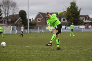 Hemel Town skipper Jordan Parkes was on target again for the Tudors at Chippenham Town on Saturday where he netted his ninth goal of the season in all competitions. (File Picture by Marc Keinch).