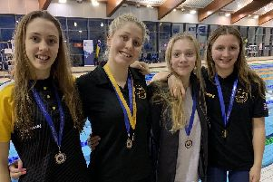 Atlantis Swimming Club's county champions Issy Hayes, Lilly Davis, Anna Sayers and Amber Ranson
