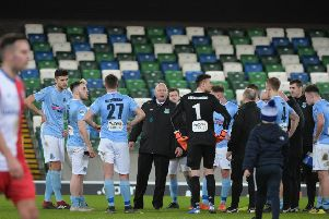 Ballymena United manager David Jeffrey and his players following Saturday's final. Pic by Pacemaker.