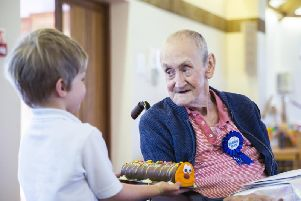 Tony was given a Colin the Caterpillar cake by one of the four year olds at Bridgewater Primary School.