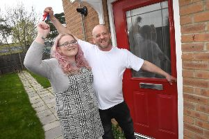 Sherelyn Russell and Tony Pigram who have been living in their car sine February, get keys to a flat in Coningsby ANL-190325-113330001