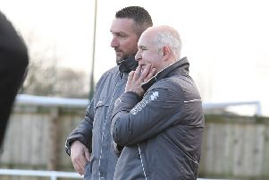 Assistant Nick Chapman, right, with manager Nathan Collins.