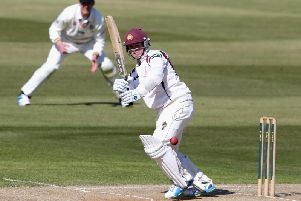Rob Newton his an unbeaten 85 for Northants against Glamorgan