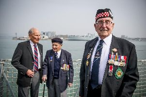 Pictured: from left, veterans Greg Hayward 9,3 of the Royal Air Force, Eric Strange, 95, of Crawley who served in the Royal Navy and Leonard Williams 93 of the Isle of Wight who was in the British Army 'Picture: Habibur Rahman