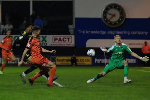 Jack Stacey saw this late effort cannon against the crossbar