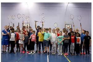 The beginners group at Rugby Youth Badminton Squads end of season round robin tournament