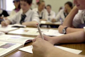 A stock image of school pupils taking exams