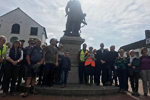 Many people gathered for the relaunch of the Franklin Way trail by the Spilsby and Hundleby Walkers Are Welcome group. Sir John Franklin's  great-great nephew Simon Ekins. was there to wave them off.