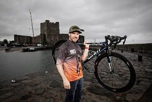Alastair Seeley in the official 2019 Giant's Causeway Coast Sportive jersey.