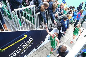 Fans cheer the Ireland team off after the 11-0 win over Singapore