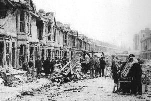Devastation on Newcomen Road, Stamshaw, Portsmouth. This was July 16, 1944, after a V1 landed between Newcomen Road and Winstanley Road, killing 25 people.