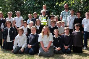 Children at Wainfleet's Magdalen Primary School with PCSO Jayne Richardson.