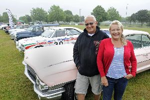 (l to r), Jo Watts and Mark Long with their 61 Cadillac. Picture: Ian Hargreaves  (070719-1)
