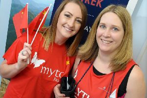 Rebecca Richards from The Myton Hospices with Donna Bothamley, from Blythe Liggins Solicitors.
