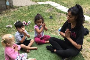 Ruby Jusna leads a mindfulness session
