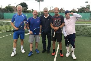 Broadcaster John Inverdale umpired a doubles match for head coach Andrew Cook and the three players who made the highest sealed bids to take part
