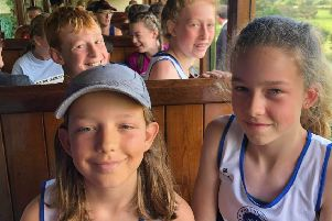 Leamington C&AC youngsters take the train to the start of the three-mile challenge.