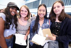 From left, Sanjina Nepaul, Felicity Canning, Michelle Manabat and Jemma Randle. GCSE results day. Bay House School, Gosport.      Picture: Chris Moorhouse     (220819-07)