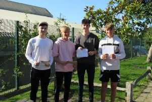 Uckfield College students celebrating their results