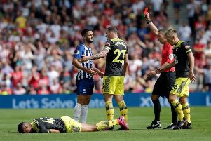 Florin Andone is sent off for Brighton (Getty)