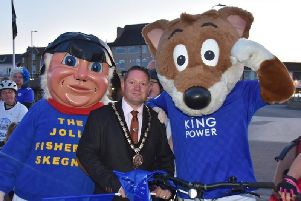 Mayor Coun Mark Dannatt and the Jolly Fishermen welcome  Filbert Fox, Leicester City's beloved Club mascot, to Skegness. Photo: Barry Robinson.