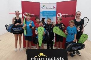Hampshire Junior Squash tournament winners and runners-up. Left to right: Olivia Keefe,, Joseph Whittingham, William Stapley, Sophie Vail, Cameron Vail, Seb Cairns-Allen, Phoebe Griffiths