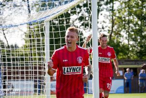 Hemel Hempstead Town midfielder Liam Nash slotted his eighth goal of the season in all competitions to bring The Tudors level in the Herts Charity Cup last night. (File picture by Ben Fullylove).