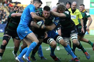 Teimana Harrison did everything he could to carry Saints forward against Leinster