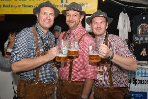 A snapshot from last year's Oktoberfest, organised by Sleaford Round Table. L-R Neil Freeman, Christian Slingsby, James Lowe - event manager.