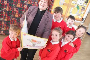 Saying 'thank you' and 'goodbye' at St Andrew's CofE Primary School, Leasingham.