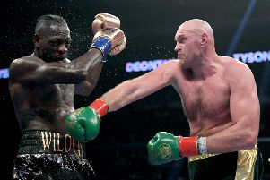 Tyson Fury lands a blow on Deontay Wilder. Picture: Getty Images