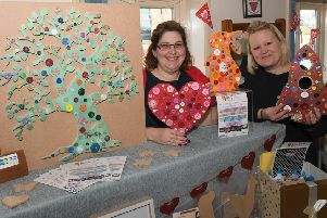 Valentines Craft Market at Sleaford Town Hall. L-R Lindsay Gardner and Rachel Ryan of Crafty Crew. EMN-190402-143516001