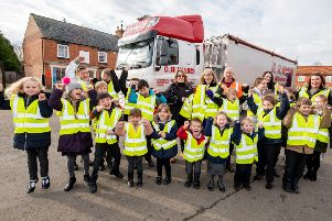 Osbournby Primary School children get their hi-viz waistcoats from G R Ward Transport. EMN-190402-145414001