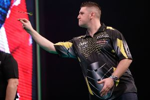 Daryl Gurney in action against Glen Durrant in the  Unibet Premier League. PICTURE: Steve Welsh/PDC
