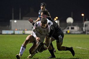 Angus Kernohan drops the ball as he goes to cross the Ospreys try line