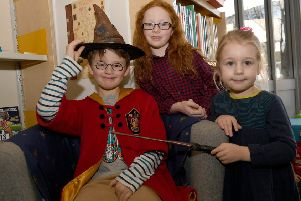 Harry Potter inspired activities at Sleaford Library. L-R Jenson White 7, Scarlett Michie 7, Florence White 4. EMN-191102-095640001